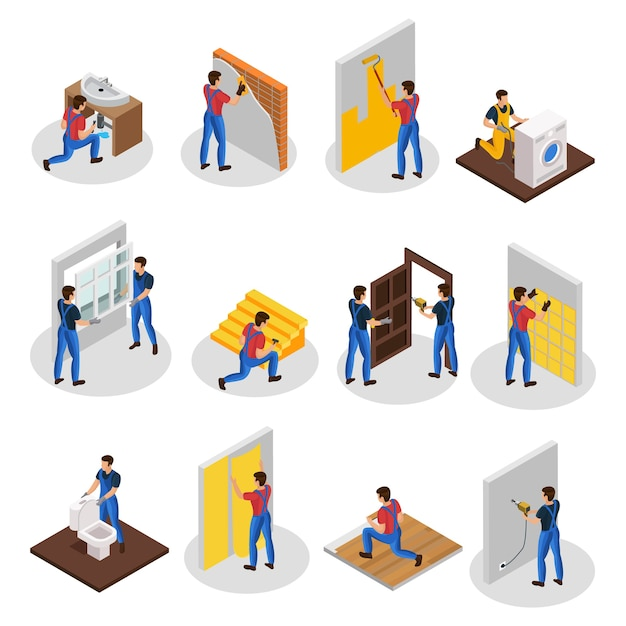 Isometric home repair set with different professional workers and house renovation and improvement procedures isolated Free Vector