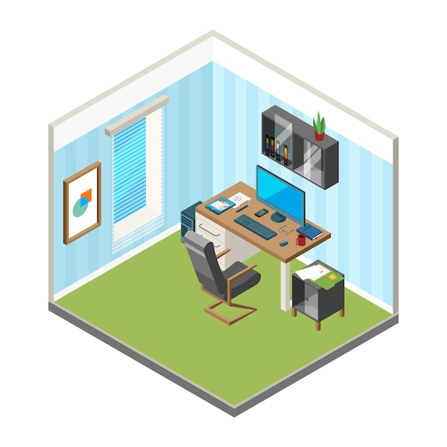 Isometric home workspace. er freelancer office workplace art production studio computer monitor vector illustrations Premium Vector