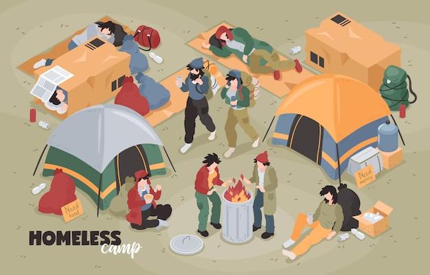編集可能なテキストとテントと人間のキャラクターのベクトル図と難民キャンプのビューと等尺性のホームレスの組成 無料ベクター