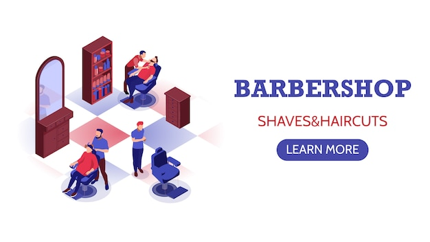 Isometric horizontal banner with stylists doing haircut and shaving beard in barbershop Free Vector