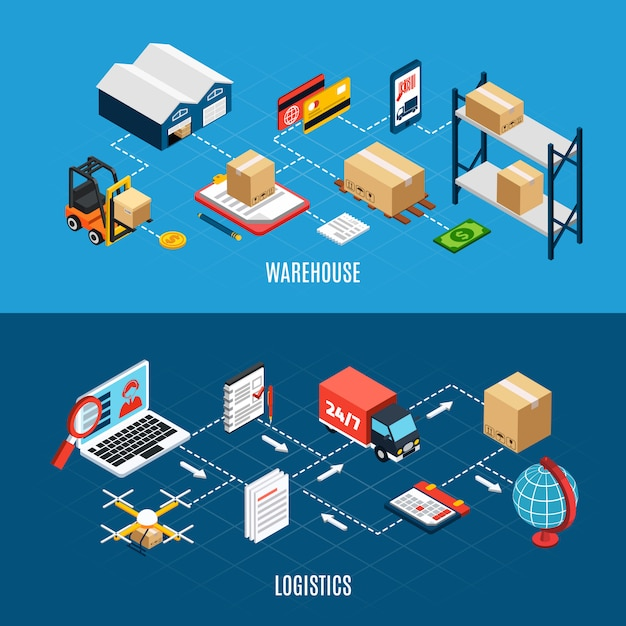 Isometric horizontal banners set with logistics trucks and delivery service 3d Free Vector