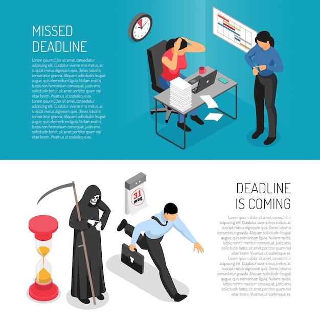 Isometric horizontal banners set with stressed people before deadline 3d Free Vector