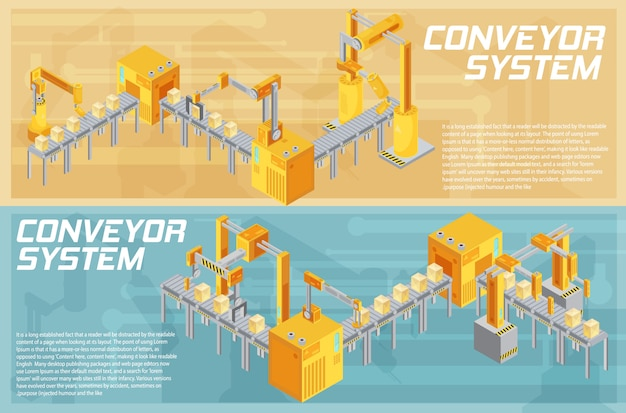 Isometric horizontal banners with conveyor system including welding and packaging on textured background isolated vector illustration Free Vector