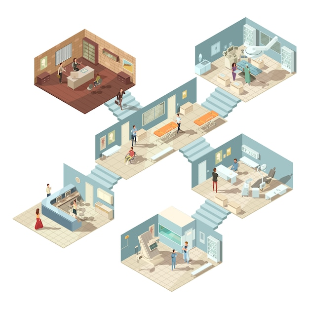 Isometric hospital building concept with doctors patients and equipment Free Vector