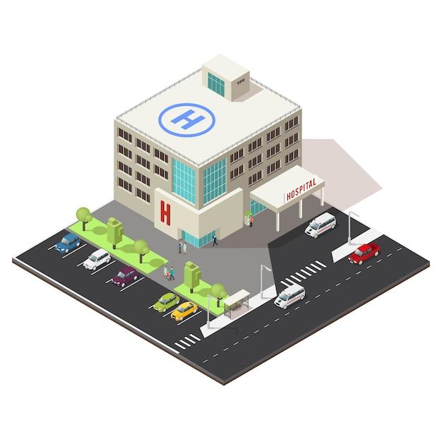 Isometric hospital building concept Premium Vector