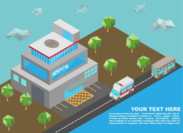 Isometric of hospital building and downtown Premium Vector