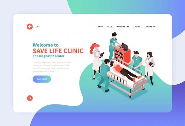 Isometric hospital concept landing page web site page design with images of medical personnel links and text vector illustration Free Vector