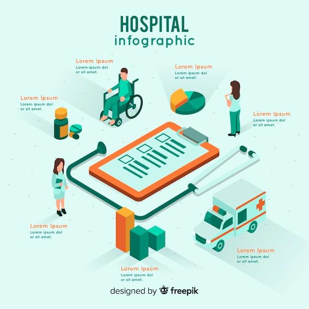 Isometric hospital infographic Free Vector