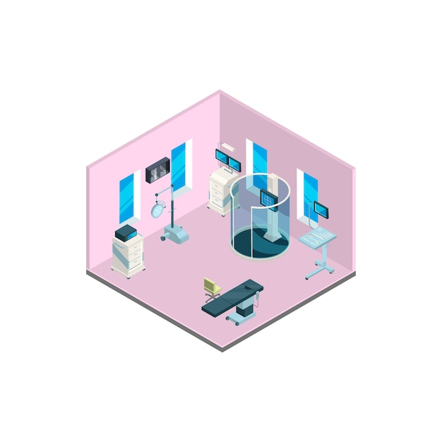 Isometric hospital interior with furniture and medical equipment illustration Premium Vector