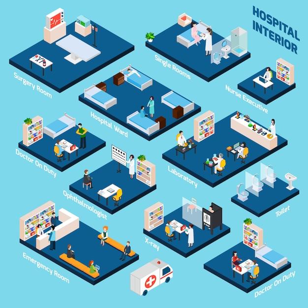 Isometric hospital interior Free Vector