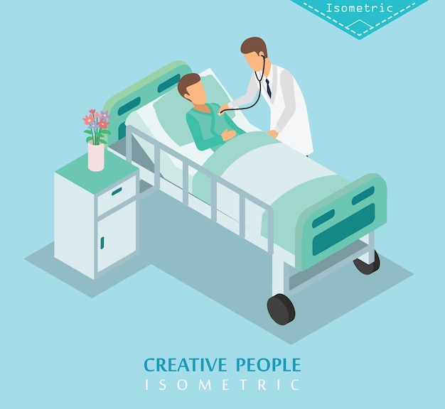 Isometric hospital and medical care set a Premium Vector