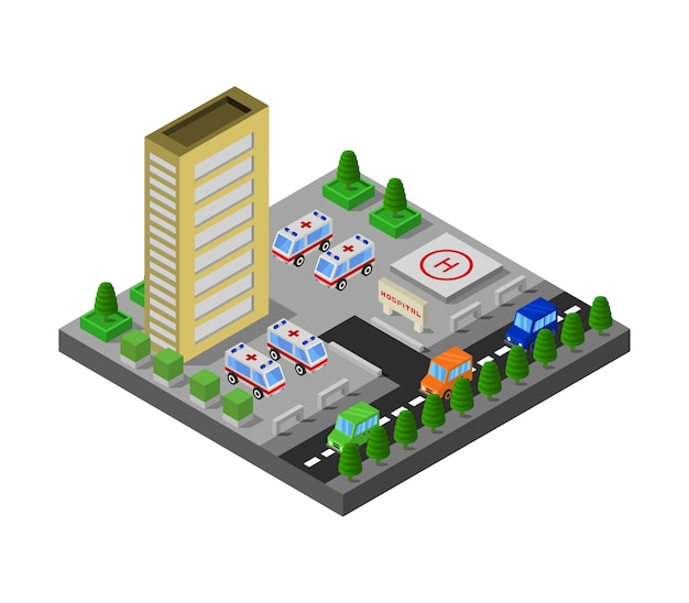 Изометрическая больница Premium векторы