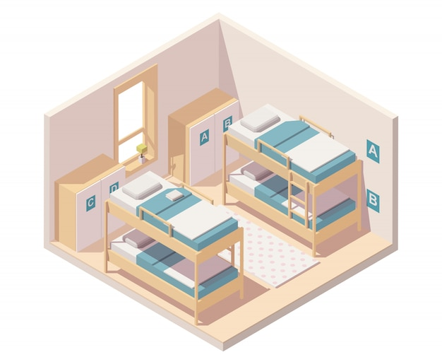 Isometric hostel room or dormitory room interior with bunk beds and wardrobes Premium Vector