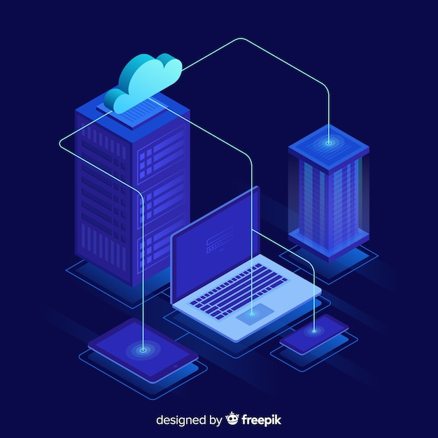 Isometric hosting service background Free Vector