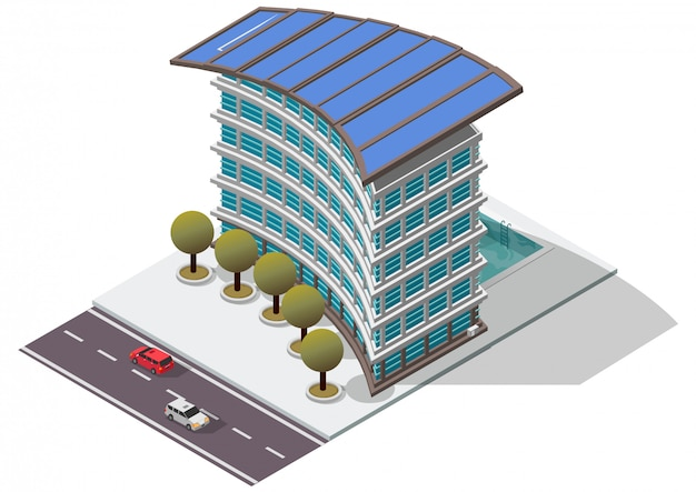 Isometric hotel apartment building Premium Vector