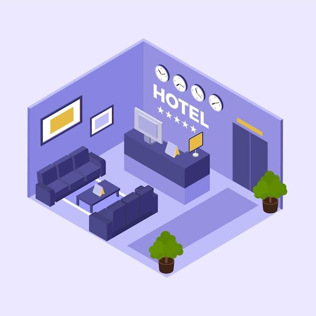 Concetto di reception dell'hotel isometrica Vettore gratuito
