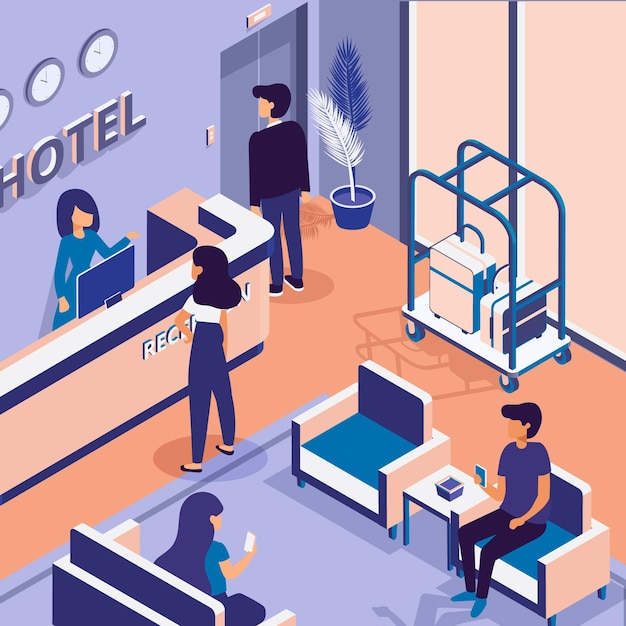 Isometric hotel reception illustrated Free Vector