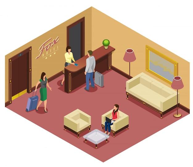 受付の訪問者が付いている等尺性ホテルの受付テンプレートソファの椅子テーブルエレベーターランプ 無料ベクター