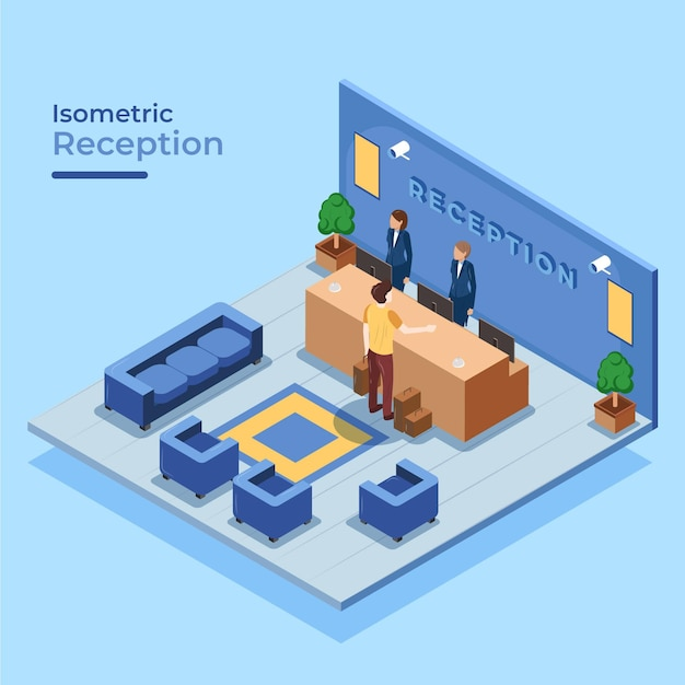 Isometric hotel reception with people Free Vector