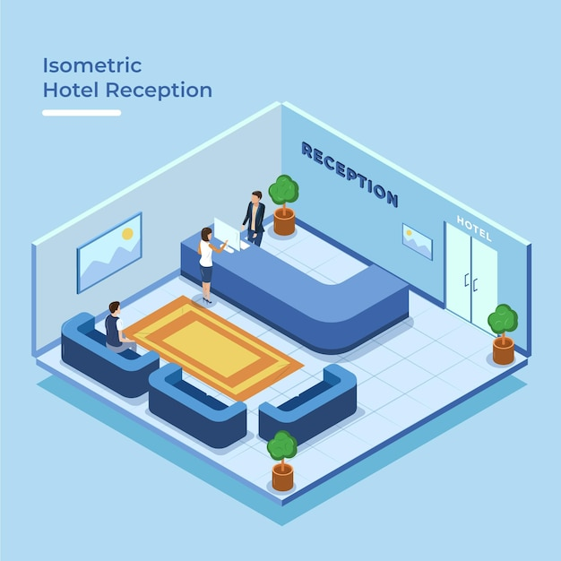Reception dell'hotel isometrica Vettore gratuito