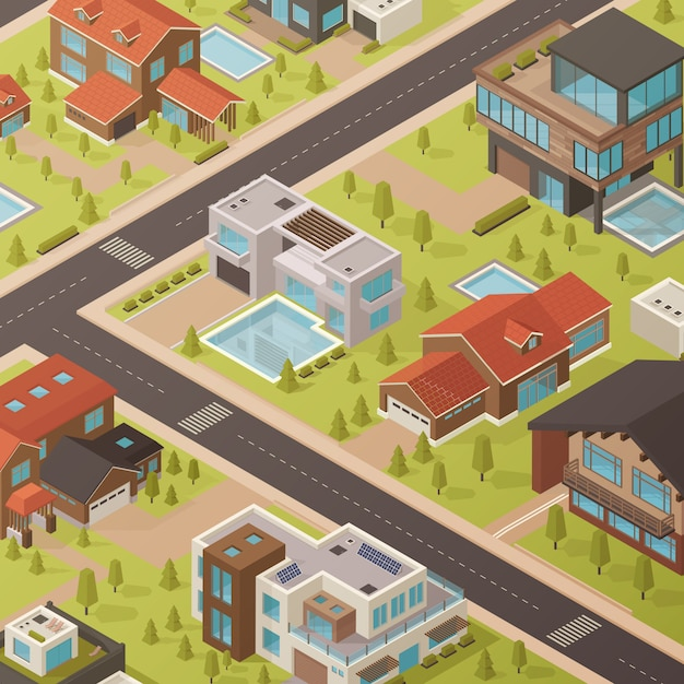 Isometric house background Free Vector
