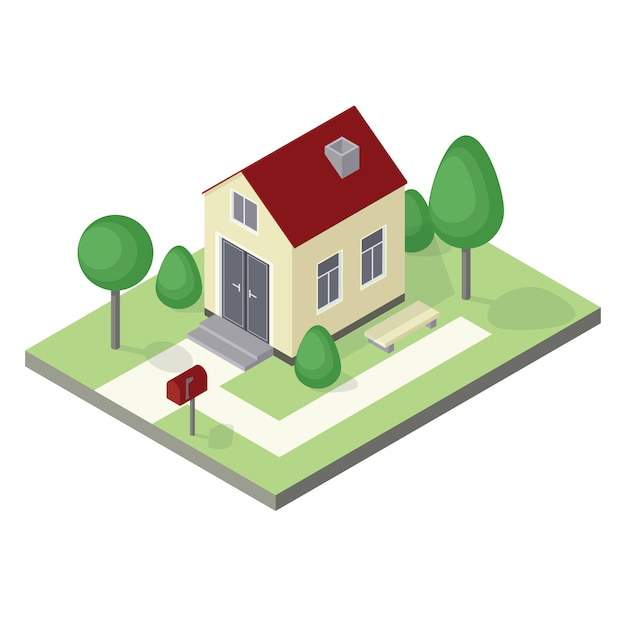 Isometric house icon Premium Vector
