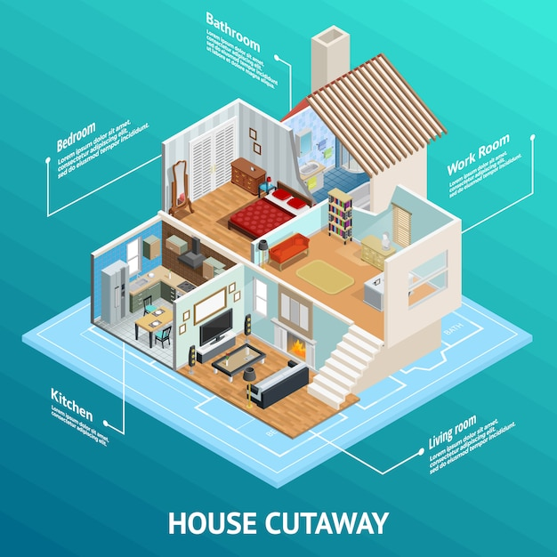 Isometric house profile concept Free Vector