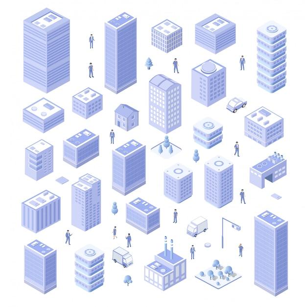 Isometric house urban Premium Vector