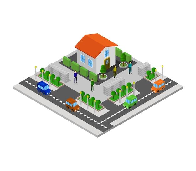 Изометрический дом Premium векторы