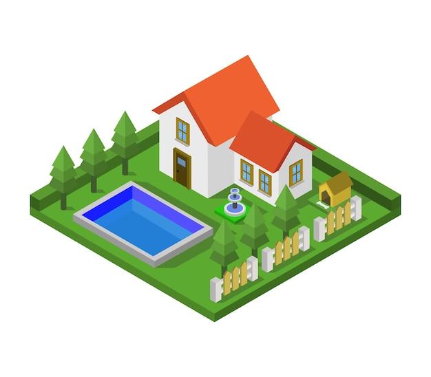 Casa isometrica Vettore gratuito