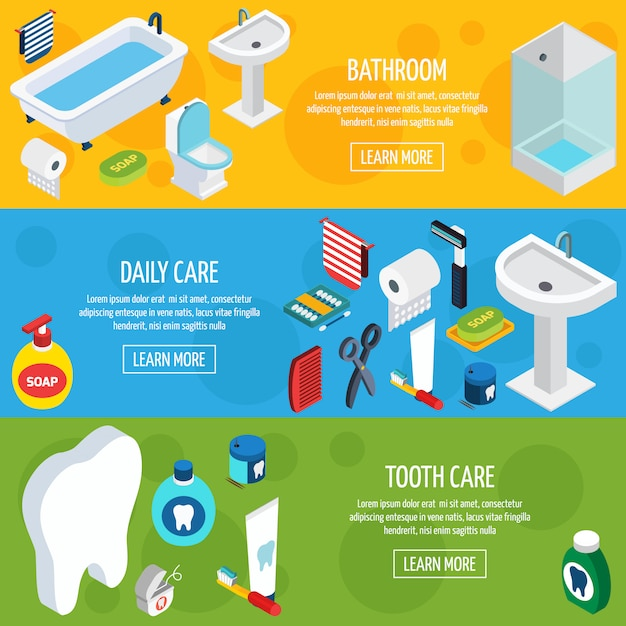Isometric hygiene banners Free Vector