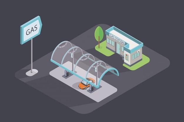 等尺性のアイコンイラスト。店と車のガソリンスタンド。 Premiumベクター