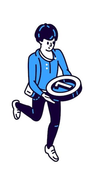 Icona isometrica dell'uomo con medaglia rotonda per il primo posto Vettore gratuito