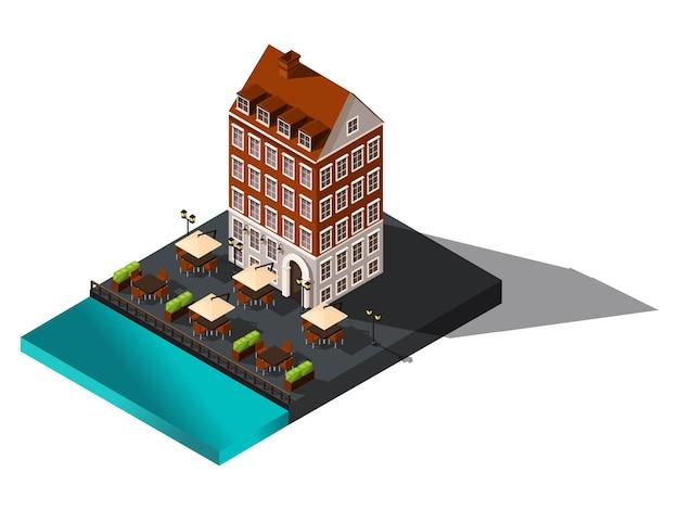Изометрические значок, старый дом у моря, отель, ресторан, дания, копенгаген, париж, исторический центр города, старое здание для иллюстраций Premium векторы