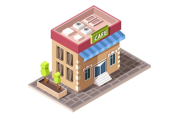 Изометрические значок, представляющий здание кафе с деревьями. Premium векторы
