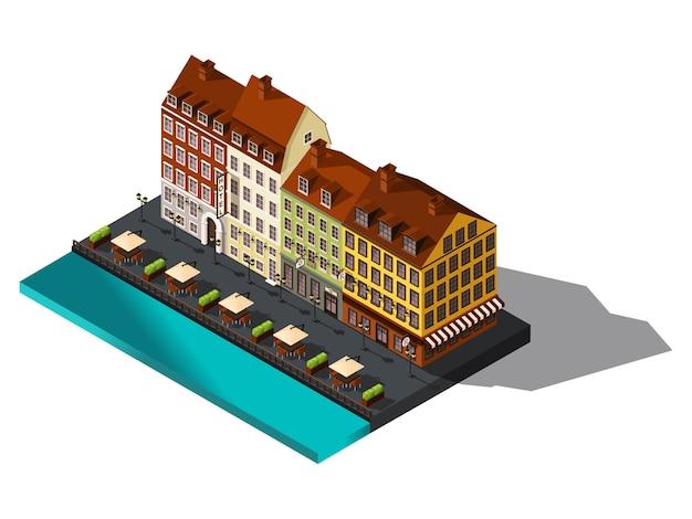 Изометрические значок, улица от старого дов на берегу моря, отель, ресторан, дания, копенгаген, париж, исторический центр города, старинные здания Premium векторы