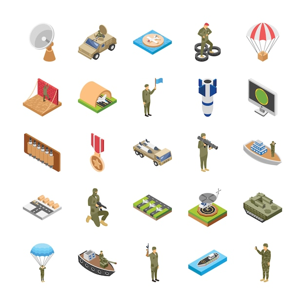 Isometric icons of military special forces Premium Vector