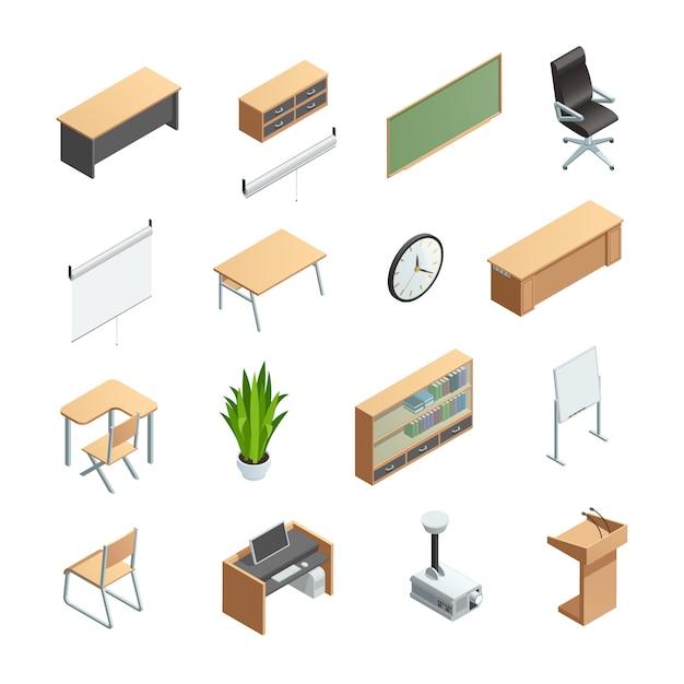 Le icone isometriche hanno messo degli elementi interni dell'aula differente come le attrezzature dei mobili Vettore gratuito