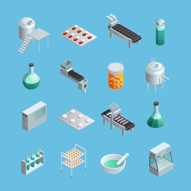 Isometric icons set of different pharmaceutical production elements Free Vector