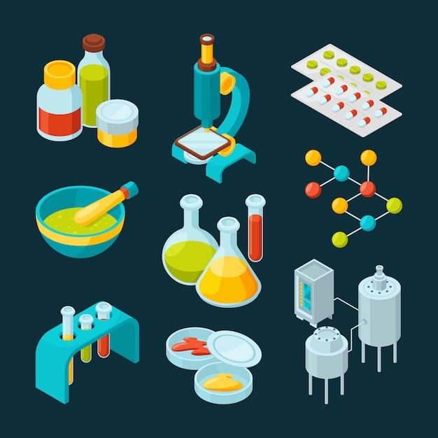 Isometric icons set of pharmaceutical industry and scientific theme Premium Vector