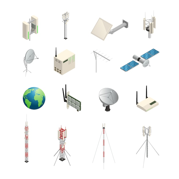 Isometric icons set of wireless communication equipments like towers satellite antennas router and o Free Vector