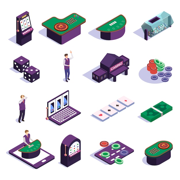 Isometric icons set with casino slot machines croupier and tools for gambling games isolated Free Vector