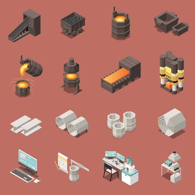 Isometric icons set with metal industry equipment 3d isolated vector illustration Free Vector