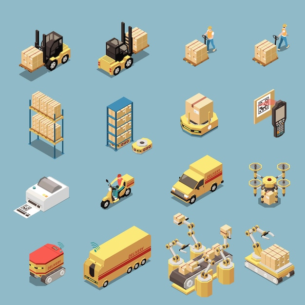 倉庫機器と分離された商品配達のための輸送で等尺性のアイコンを設定します 無料ベクター