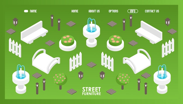 Isometric icons for street furniture shop Premium Vector