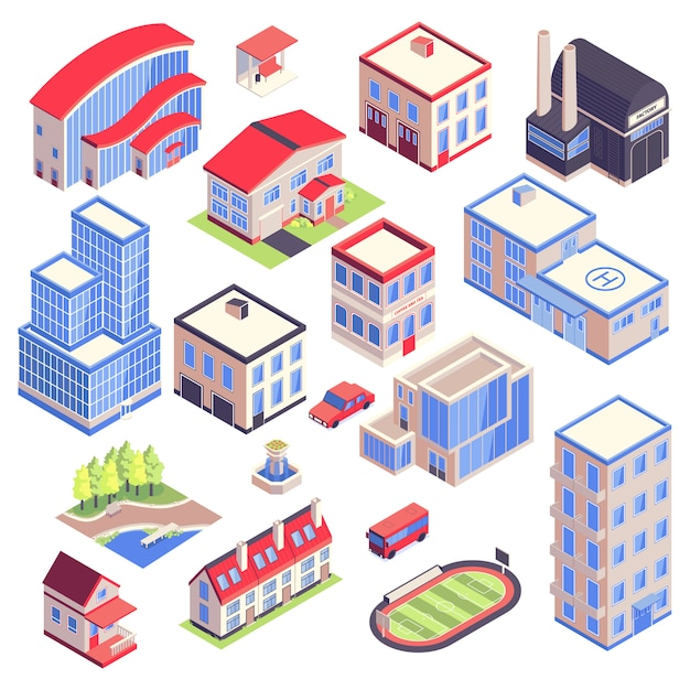 Isometric icons urban transport  architecture environment set  with isolated images of modern city buildings with different functions vector illustration Free Vector