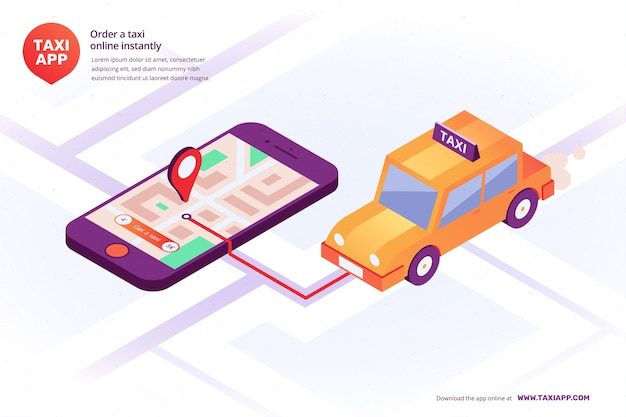 Isometric illustrated taxi app interface Premium Vector