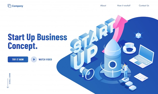 Isometric illustration of of business man launching their project from laptop system for start up business concept website design. Premium Vector
