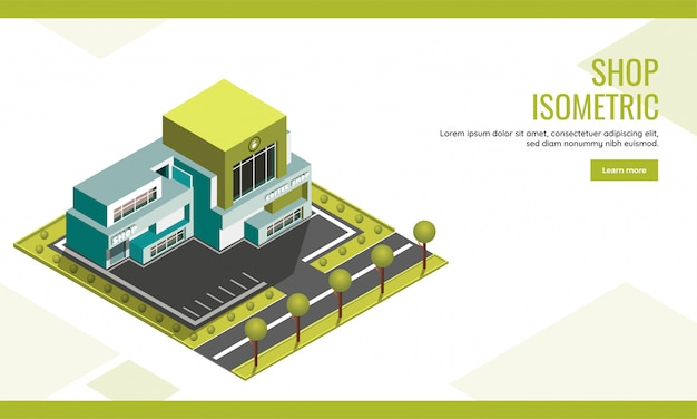 Isometric illustration of coffee center with shop building and garden yard background for shop landing page or web banner design. Premium Vector
