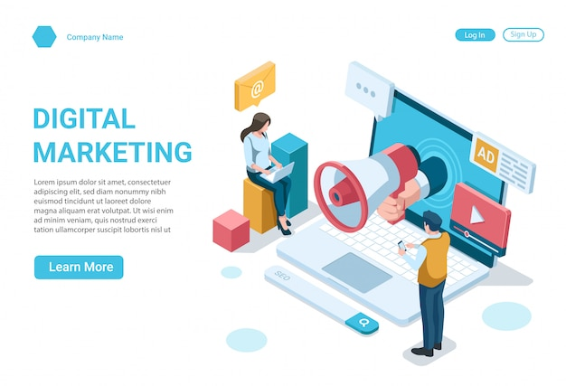 Isometric illustration concept of digital marketing landing page design template Premium Vector